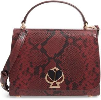 Kate Spade Nicola Snakeskin Embossed Leather Top Handle Satchel