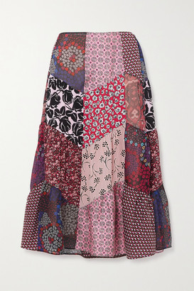 Prada Patchwork Printed Silk-blend Crepe Midi Skirt - Purple