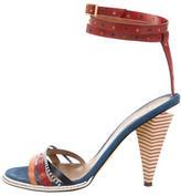 Fendi Leather Round-Toe Sandals