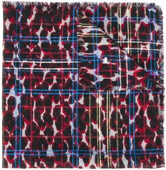 Saint Laurent Leopard-Print Check Scarf