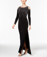 Xscape Evenings Beaded Cold-Shoulder Gown