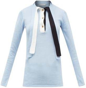 Palmer Harding Palmer//harding - Revan Tie-neck Cotton And Modal Jersey Sweater - Womens - Light Blue