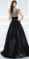 Mac Duggal Velvet Waist Open Back Beaded Satin Ball Gown