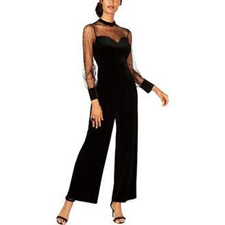 AVEC LES FILLES Women's Velvet Jumpsuit with Sheer Sleeves
