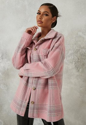 Missguided Brushed Check Shacket