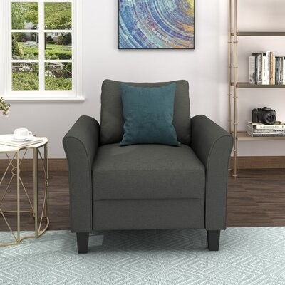 """Thumbnail for your product : Red Barrel Studio Freiwald 32.7"""" W Polyester Blend Armchair Fabric: Dark Gray Polyester Blend"""