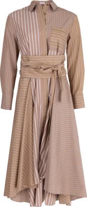 Brunello Cucinelli Hi Low Belted Stripe Shirt Dress