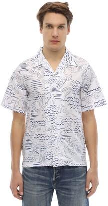 Kenzo Allover Marina Print Cotton Shirt