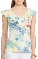 Chaps Petite Beach-Printed Ruffled Top