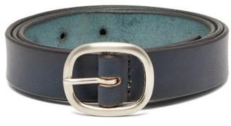 Maximum Henry - Slim Leather Belt - Mens - Navy