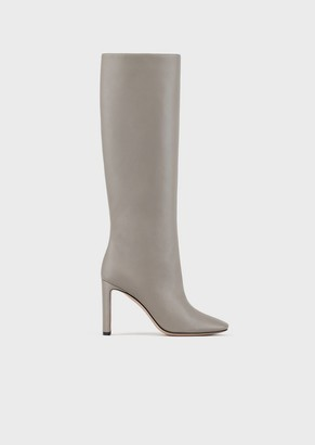 Giorgio Armani High-Heeled Boots In Nappa Leather With Half-Crescent Heel