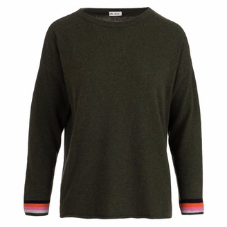 At Last... Olive Cashmere Sweater With Navy Elbow