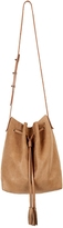 Hunter Leather Bucket Bag In Saddle