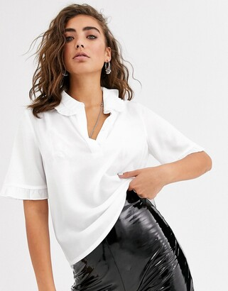 Object short sleeve blouse with frill collar-Cream