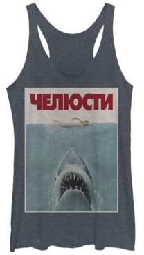 Fifth Sun Jaws German Movie Poster Tri-Blend Racer Back Tank