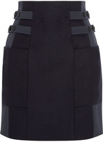 Topshop Shell-paneled Wool-blend Mini Skirt - Navy