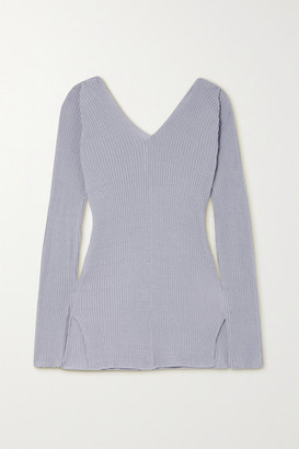 Low Classic Ribbed Linen-blend Sweater - Lilac