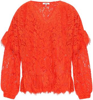 Ganni Jerome Ruffle-trimmed Corded Lace Peplum Blouse