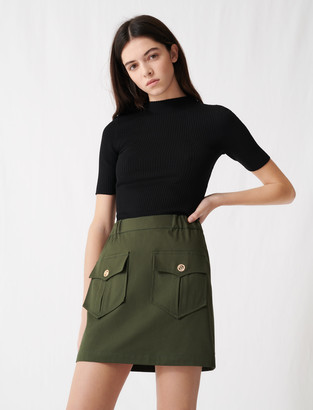 Maje Khaki cotton skirt with pockets