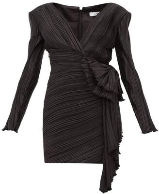 Givenchy Bow-embellished Plisse-satin Mini Dress - Womens - Black