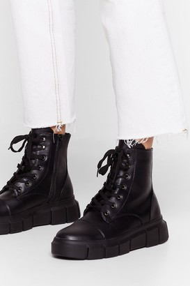 Nasty Gal Womens Cleat It Real Faux Leather Lace-Up Boots - Black