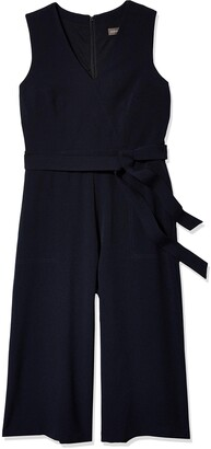 Donna Ricco Women's 1 Piece Slvless V Neck Tie Waist Solid Jumpsuit