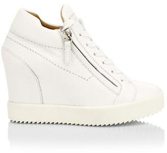 Giuseppe Zanotti Addy Double-Zip Leather Wedge Sneakers