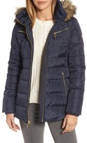 MICHAEL Michael Kors Women's Puffer Coat With Detachable Hood And Faux Fur Trim