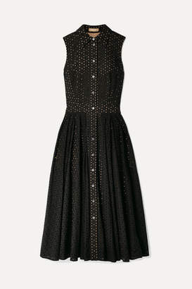 Michael Kors Broderie Anglaise Cotton Midi Dress - Black