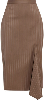 Max Mara Fedora Draped Pinstriped Wool Pencil Skirt