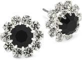 JCPenney Vieste Rosa Vieste Jet Black & Clear Crystal Flower Earrings