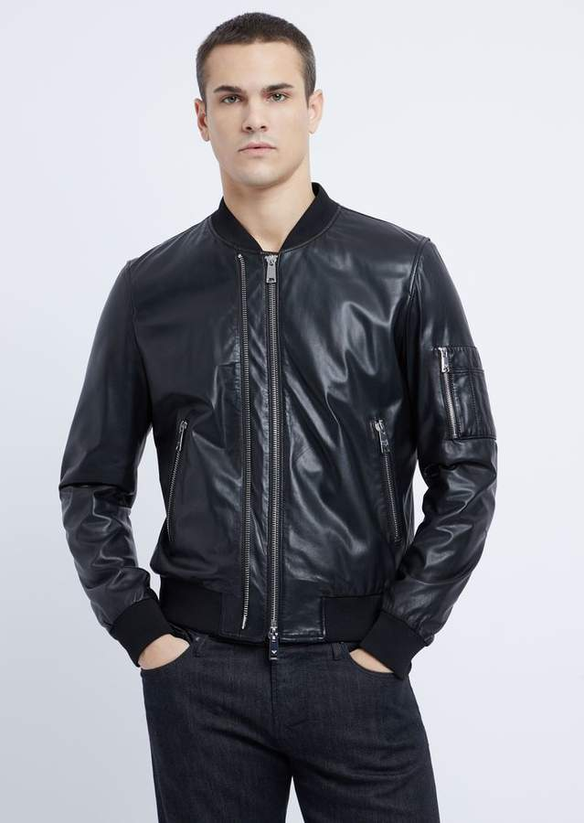 184158626f Soft Nappa Leather Bomber Jacket With Embroidered Logo On The Back