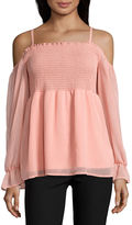 BY AND BY by&by Short Sleeve Turtleneck Chiffon Blouse-Juniors