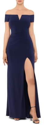 Xscape Evenings Off the Shoulder Side Slit Gown
