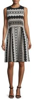 St. John Printed Shimmer-Knit Sleeveless Dress, Caviar/Multi