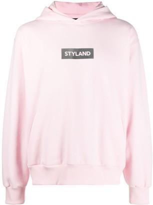 Styland Logo-Print Drop-Shoulder Hoodie