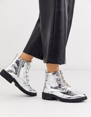 Vero Moda silver hiking boots