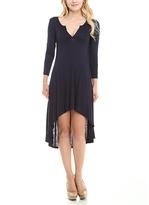 Celeste Navy Notch Neck Hi-Low Dress