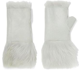 Karl Donoghue Reversible Nubuck And Shearling Fingerless Gloves