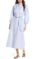 Tory Burch Stripe Linen Midi Shirtdress