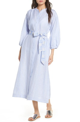 Tory Burch Stripe Linen Midi Shirtdress