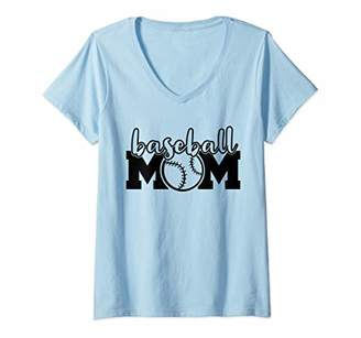 Womens Baseball Mom Life Baller Parent Gameday Softball Mama Gift V-Neck T-Shirt