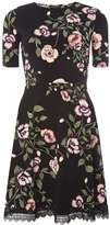 Dorothy Perkins Black Floral Ruched Sleeve Skater Dress