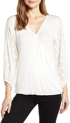 Loveappella Dot Chiffon Sleeve Faux Wrap Top
