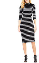 Copper Key Striped Rib Knit 3/4 Sleeve Mock Neck Sheath Midi Dress