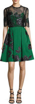 Elie Saab Floral Jacquard Cocktail Dress with Lace Bodice, Green/Black