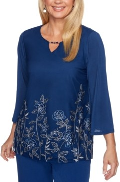 Alfred Dunner Petite Sapphire Skies Floral Embroidered Knit Top
