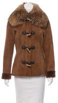 Michael Kors Fox Fur Collar Shearling Jacket