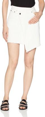 EVIDNT Women's White Denim Mini Wrap Skirt with Raw Hem 29