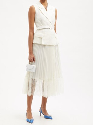 Self-Portrait Belted Lace-trim Boucle And Chiffon Tailored Dress - Ivory